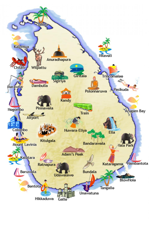 Шри Ланка карта курортов